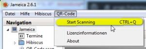 QR-Code Scan aus Menü starten.